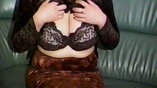 Horn-mad a bit plump bungler cam MILF plays with her huge knockers
