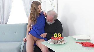 Bearded pervert is provided with a really good blowjob by Czech chick Sarah Fundamental