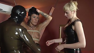 Perverted mistress Lorena Lee and one kinky woman chasten cock be proper of submissive toff in latex