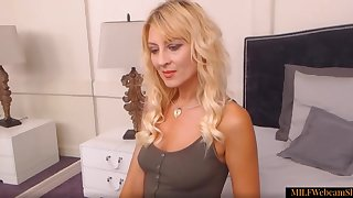 Hot Fair-haired Mother Undressing And Showing The brush Scant Body On Webcam
