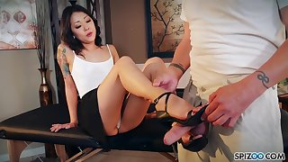 Nude Korean Saya Song gives a footjob and blowjob on every side clothed fond of man