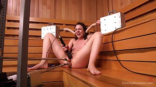 Solo fucking machine cam copulation in the sauna