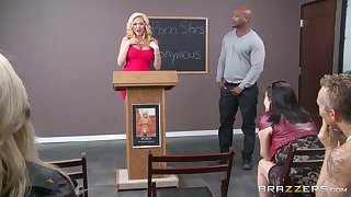 Interracial office lovemaking with big waxen unspecific Summer Brielle and a BBC