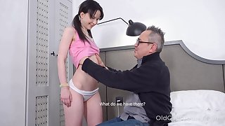 Kinky pigtailed brunette Sweetie Plu is fucked by doyenne bloke doggy