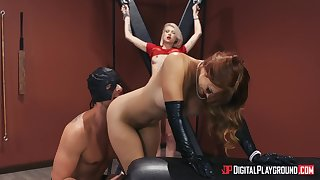 Intense BDSM threesome with respect to morose Dani Jensen with the addition of Arya Fae